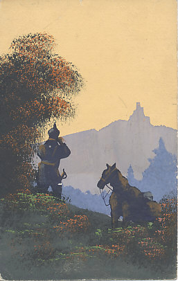 A German mounted scout on reconnaissance examines the land ahead through his binoculars. He and his mount are in the hills, possibly the Vosges or the Ardennes. An original gouache painting from 1914. The message on the reverse is dated December 16, 1914.