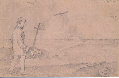 A bearded man stands by the seashore at sunset. A skull is near his feet, and three more lie near the foot of a cross across a narrow inlet. Three birds, seagulls or birds of prey, descend. An Austrian pencil sketch on field postcard, signed and dated, 1916, likely date, July 15/19, 1916.