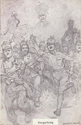 Revenge! Austro-Hungarian troops charge into battle to revenge the assassination of Archduke %+%Person%m%7%n%Franz Ferdinand%-%. His spirit watches over them. From a drawing by Ludwig Koch.