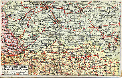 Postcard map of Galicia, one of the Austro-Hungarian theaters of war, from Cracow to Tarnopol along the north of the Carpathian Mountains. The region includes the fortress city of Przemyśl.