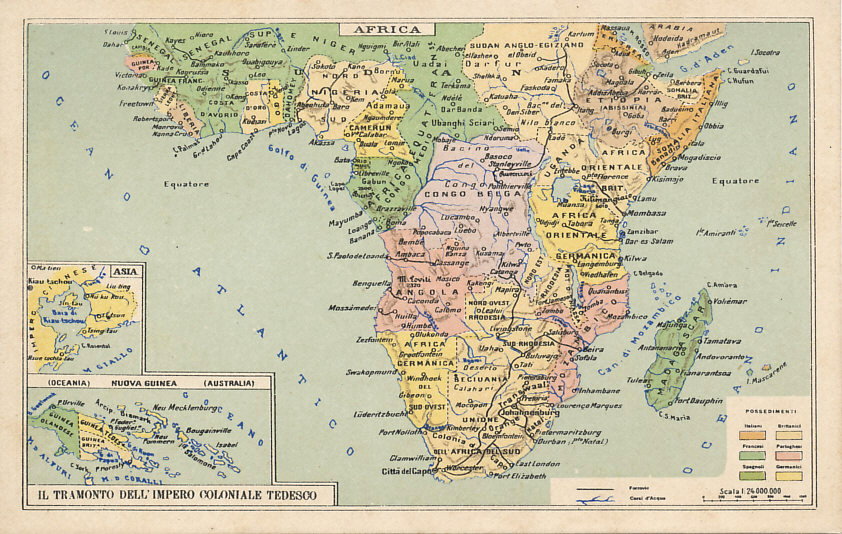 An Italian postcard map of central and southern Africa with insets for New Guinea and Kiautschau, China, with the colonies of Italy, Britain, France, Portugal, Spain, Germany, the Netherlands, and Belgium.