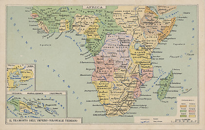 An Italian postcard map of central and southern Africa with insets for New Guinea and Kiautschau, China, with the colonies of Italy, Britain, France, Portugal, Spain, Germany, and Belgium.