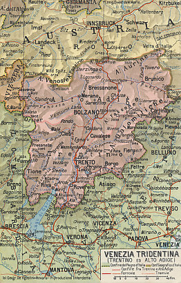 "Map of the Trentino, part of ""Italia Irredenta,"" unredeemed Italy: Venezia Tridentina (Trentino and Alto Adige)