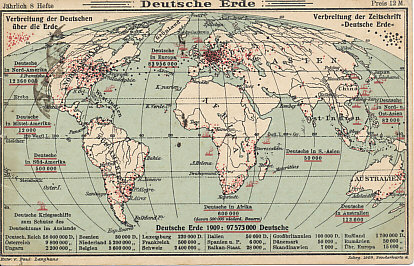 "The German-speaking world, 1909. A postcard from the journal ""German World"" showing the distribution of Germans and German-speakers around the world. Note the red ships designating ""German warships for the protection of Germans in foreign countries."" Of the 600,000 Germans in Africa, 500,000 are ""Low German farmers"". North America was home to over 12,000,000 Germans and individuals of German descent, the largest population outside of Europe.