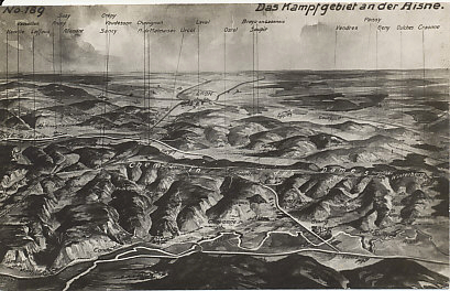 Postcard map of the Chemin des Dames between Soissons and Rheims. The view is facing north towards the heights of the 'Ladies Road,' the Aisne River to its south. The Germans held the high ground after the retreat from the Marne in 1914. The French suffered heavy casualties taking the Chemin des Dames in the Second Battle of the Aisne in 1917, an offensive that led to widespread mutinies in the French Army. The Third German Drive of 1918, the Third Battle of the Aisne, drove the French, and supporting British troops, from the heights, and again threatened Paris.