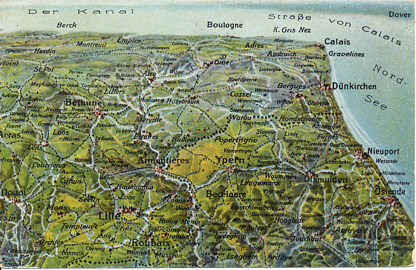 German postcard map of the Western Front in Flanders, looking south and including Lille, Arras, Calais, and Ostend. In the Battle of the Yser in October, 1914, the Belgian Army held the territory south of the Yser Canal, visible between Nieuport, Dixmude, and Ypres (Ypern). Further north is Passchendaele, which British forces took at great cost in 1917.