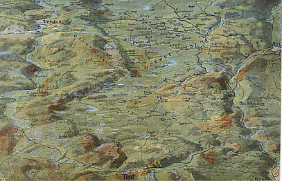 Relief map postcard of the battle front between the Meuse and Moselle Rivers, including Verdun, Nancy, and the Woevre plain. Forts Douaumont and Vaux, can be made out east of Verdun, target of the 1916 German siege. St. Mihiel is to the west, south of Verdun. The Argonne is in the upper left, west of Verdun.