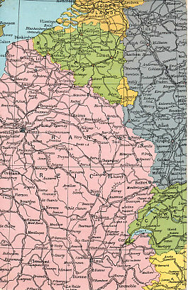 Postcard map of the Western Front. By the time the card was mailed on November 26, 1914, trench warfare had begun, with trenches stretching from a corner of Belgium on the English Channel, across northern France to the Swiss border.