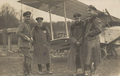 German ace Oswald Bölcke, second from left, marked with an X, was killed in a collision, October 28, 1916 with 40 victories.
