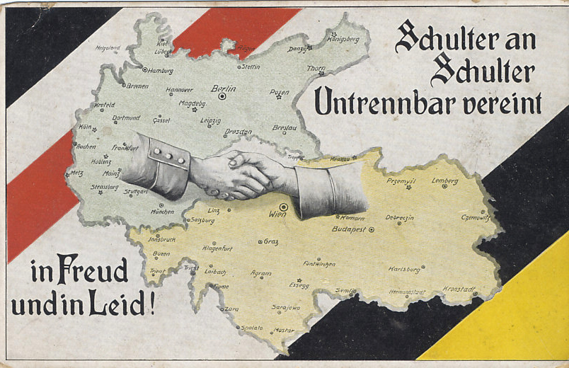 Zweibund — the Dual Alliance — Germany and Austria-Hungary united, were the core of the Central Powers, and here join hands. The bars of Germany's flag border the top left, and those of the Habsburg Austrian Empire and ruling house the bottom right.