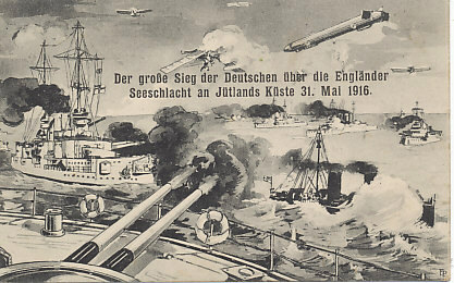 "German postcard celebrating ""the great German victory over the English"" off Jutland, May 31, 1916. The Battle of Jutland (or of the Skagerrak) was the largest naval engagement of the war. Although, as on this card, the Germans declared victory, the outcome was less clear, and the German surface fleet did not again contest British control of the North Sea.