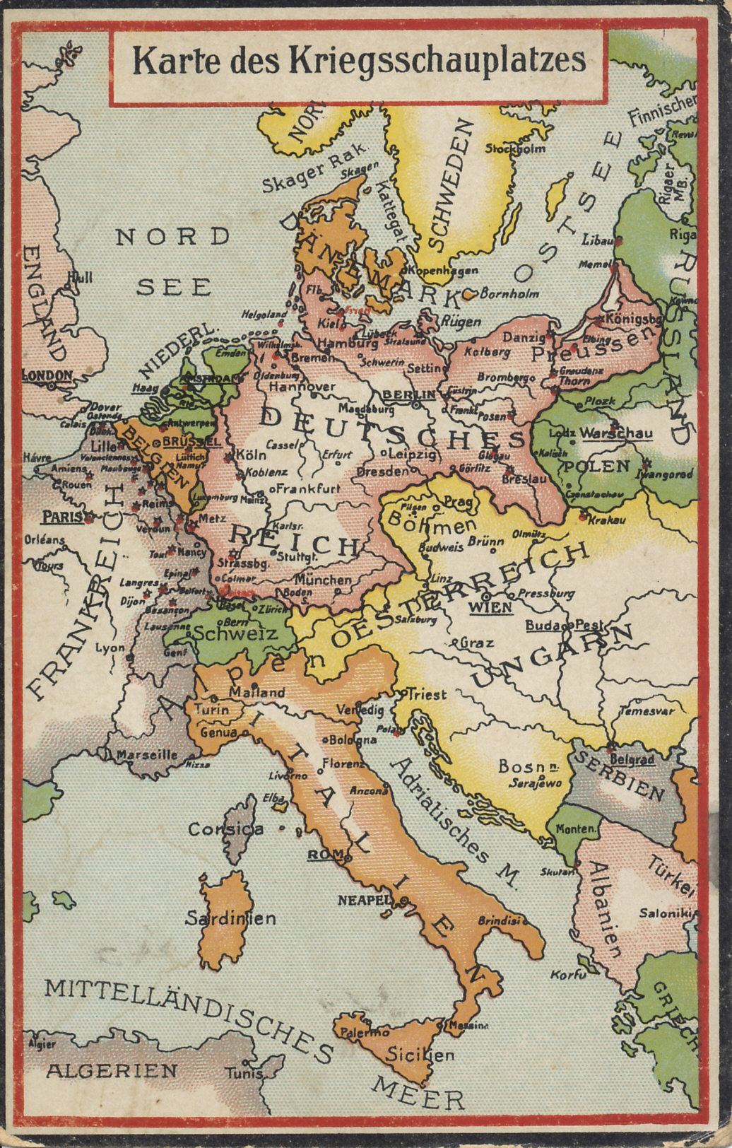 Map of the European theater of war. The map does not reflect the territorial gains of Serbia, Montenegro, and Greece at the expense of Turkey in the Balkans wars of 1912 and 1913.