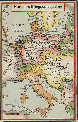 Map of the European theater of war prior to Italy's entry into the war in May, 1915. Forts, fortress cities, and military ports are highlighted. The map of the Balkans does not reflect the territorial gains of Serbia, Montenegro, and Greece at the expense of Turkey in the Balkan Wars of 1912 and 1913.
