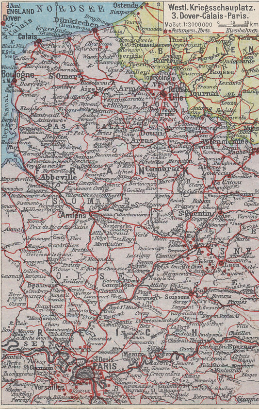 Map of the Western Front, from Dover to Calais, and south to Paris.