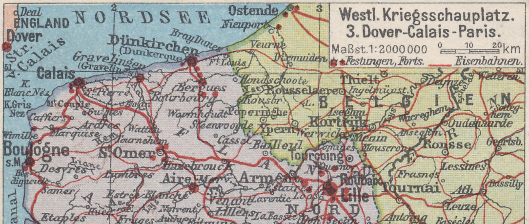 Detail of a German postcard map of the Western Front, showing the northwestern end of the line and the Channel coast. German forces occupied Ostend, Belgian and Allied forces Nieuport. The Belgian Government was based in Furnes (Veurne).