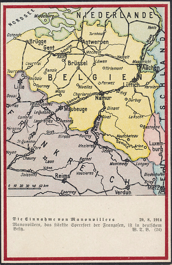 The fort at Manonviller, east of Nancy and Lunéville, fell on August 27, 1914. The map shows the Belgian fortresses of Liège (Lüttich), Namur, Dinant, and Antwerp (Antwerpen) and French fortresses including those of Lille, Maubeuge, Givet, and Verdun.