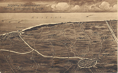 A map of the Belgian battlefield from Bruges to Ostend and the Belgian coast to Blankenburg. German forces took Ostend on October 17, 1914. Bruges was an important German submarine base with canals connecting it to the North Sea ports of Ostend and Zeebrugge, ports the British attacked the night of April 22–23, 1918 in an attempt to block the canals. Zeebrugge is just off the map to the right.