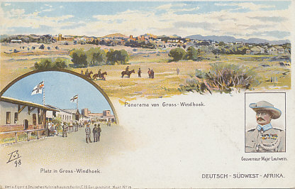 1898 postcard of German Southwest Africa including scenes of the capital of Greater Windhoek, a square in the city, and Major Leutwein, Governor from 1894 to 1904.