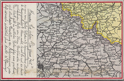 German postcard map of Paris to Liege, northern France and the Belgian border. After the Battle of the Marne, the Race to the Sea continued north. By October 12, 1914, the mutual attempts of the German and Allied armies to outflank each other were focused on Lille. 