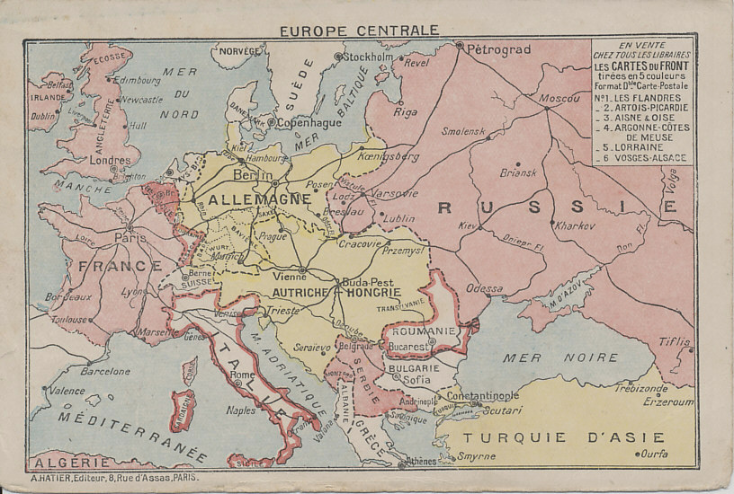 Number six in a series of folding postcards, each one showing one of the Western Front battlefields on the interior. The outer back shows a map of central Europe with the Entente Allies is pink and the Central Powers in Yellow. The map shows Europe after Turkey's entry into the war at the end of October, 1915, and before Italy's entry in May, 1915. The publisher may have hoped neutral Italy and Romania would soon join the Allies, and has outlined them in pink.