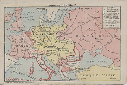 Number six in a series of folding postcards, each one showing one of the Western Front battlefields on the interior. The outer back shows a map of central Europe with the Entente Allies is pink and the Central Powers in Yellow. The map shows Europe after Turkey's entry into the war at the end of October, 1914, and before Italy's entry in May, 1915. The publisher may have hoped neutral Italy and Romania would soon join the Allies, and has outlined them in pink.