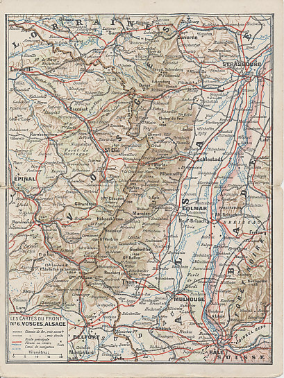 Number six in a series of folding postcards, each one showing one of the Western Front battlefields on the interior. The outer back shows a map of central Europe with the Entente Allies in pink and the Central Powers in Yellow. The map shows Europe after Turkey's entry into the war at the end of October, 1915, and before Italy's entry in May, 1915. The publisher may have hoped neutral Italy and Romania would soon join the Allies, and has outlined them in pink.