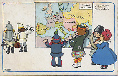 Fantasy map of Europe with the territory of Germany and Austria-Hungary incorporated into France, Russia, Italy, and Serbia. Children representing Belgium, Great Britain (pen in hand), Russia, and France admire the result as Germany and Austria-Hungary walk away bearing their dead or dying national symbols, the eagle or double-headed eagle. A postcard by Aurelio Bertiglia.