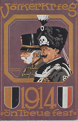 "Postcard image of Kaiser Wilhelm II and Kaiser Franz Joseph, in the Secessionist style. The men are in a hexagonal lozenge, an image that may have been drawn from them riding in a carriage. Kaiser Wilhelm is wearing the uniform and shako of the Death's Head Hussars. Above the image, the word ""Völkerkrieg"" (people's war); below ""1914; In Treue Fest"" (fixed in loyalty)."