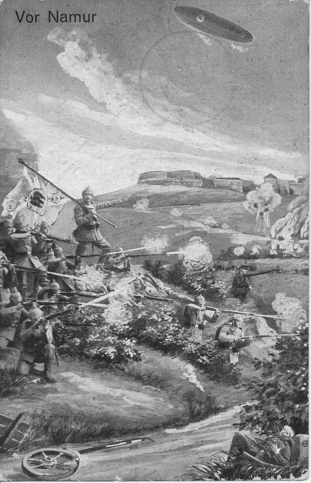 German forces — a standard bearer, and troops in picklehaube firing rifles, below a hilltop fortress. A Zeppelin is overhead, and a wounded Belgian soldier is in the foreground. Gray-tone.