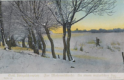 Winter on the Masurian Lakes of East Prussia. German forces launched the Second Battle of the Masurian Lakes in a blinding snowstorm.