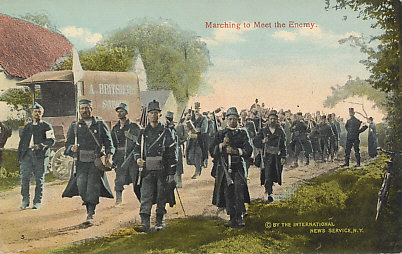 August, 1914 — Belgian troops marching to oppose Germany's invasion of their neutral country. Although overwhelmed, they slowed the German advance.