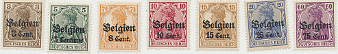 Stamps of occupied Belgium: German stamps overprinted in black with 'Belgien' and denominations in centimes: 3, 5, 8, 10, 15, 25, and 75.