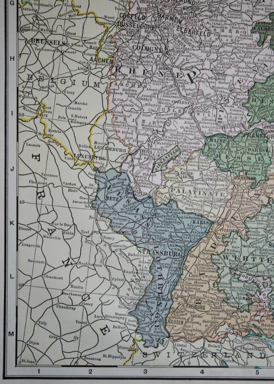 Detail from Cram's 1903 Railway Map of the German Empire with the states of the Empire: Elsass and Lothringen, or Alsace and Lorraine, the regions taken from France after the Franco-Prussian War of 1870-71.