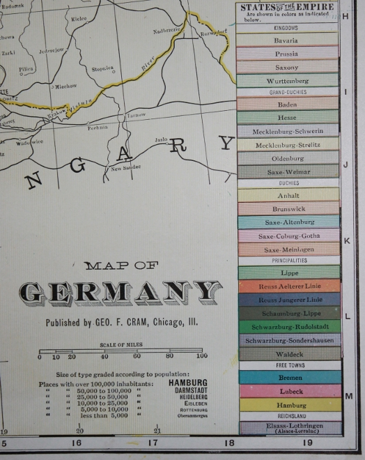 Detail from Cram's 1903 Railway Map of the German Empire with the states of the Empire: the map legend.