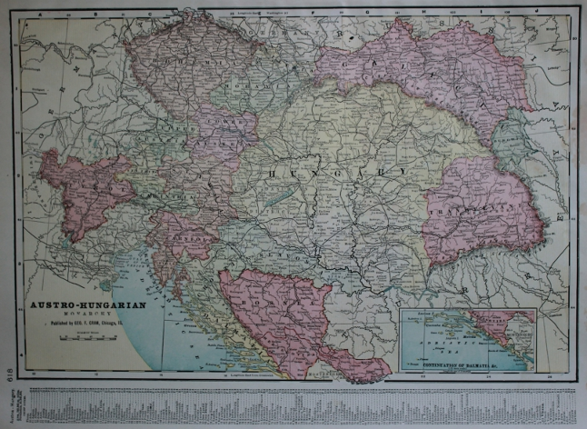 Cram's 1903 Railway Map of the Austro-Hungarian Empire.