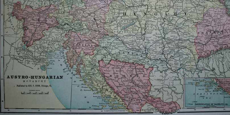Detail of Cram's 1903 Railway Map of the Austro-Hungarian Empire showing the Tyrol and Bosnia-Herzegovina.