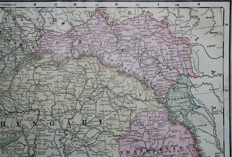 Detail from Cram's 1903 Railway Map of the Austro-Hungarian Empire showing Galicia and Bukovina.
