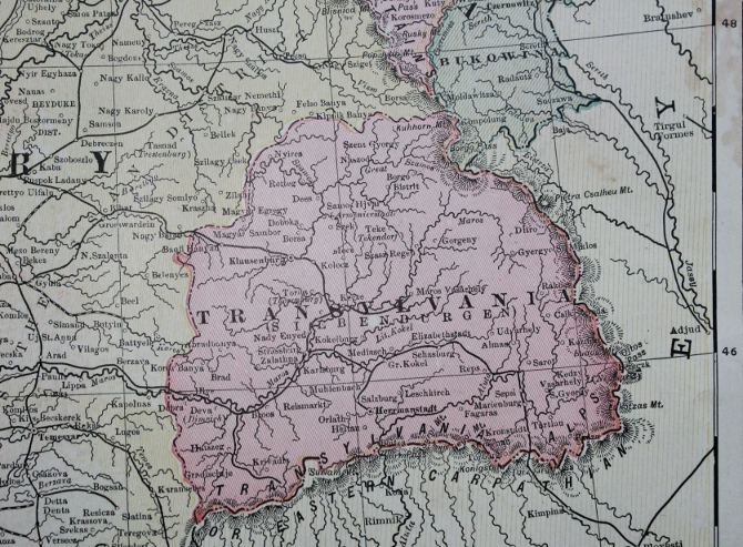 Detail from Cram's 1903 Railway Map of the Austro-Hungarian Empire showing Transylvania.