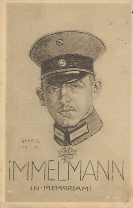 German Ace Max Immelmann In Memoriam! Postcard from a drawing by Gehrig, 1916. Immelmann was shot down on June 18, 1916.