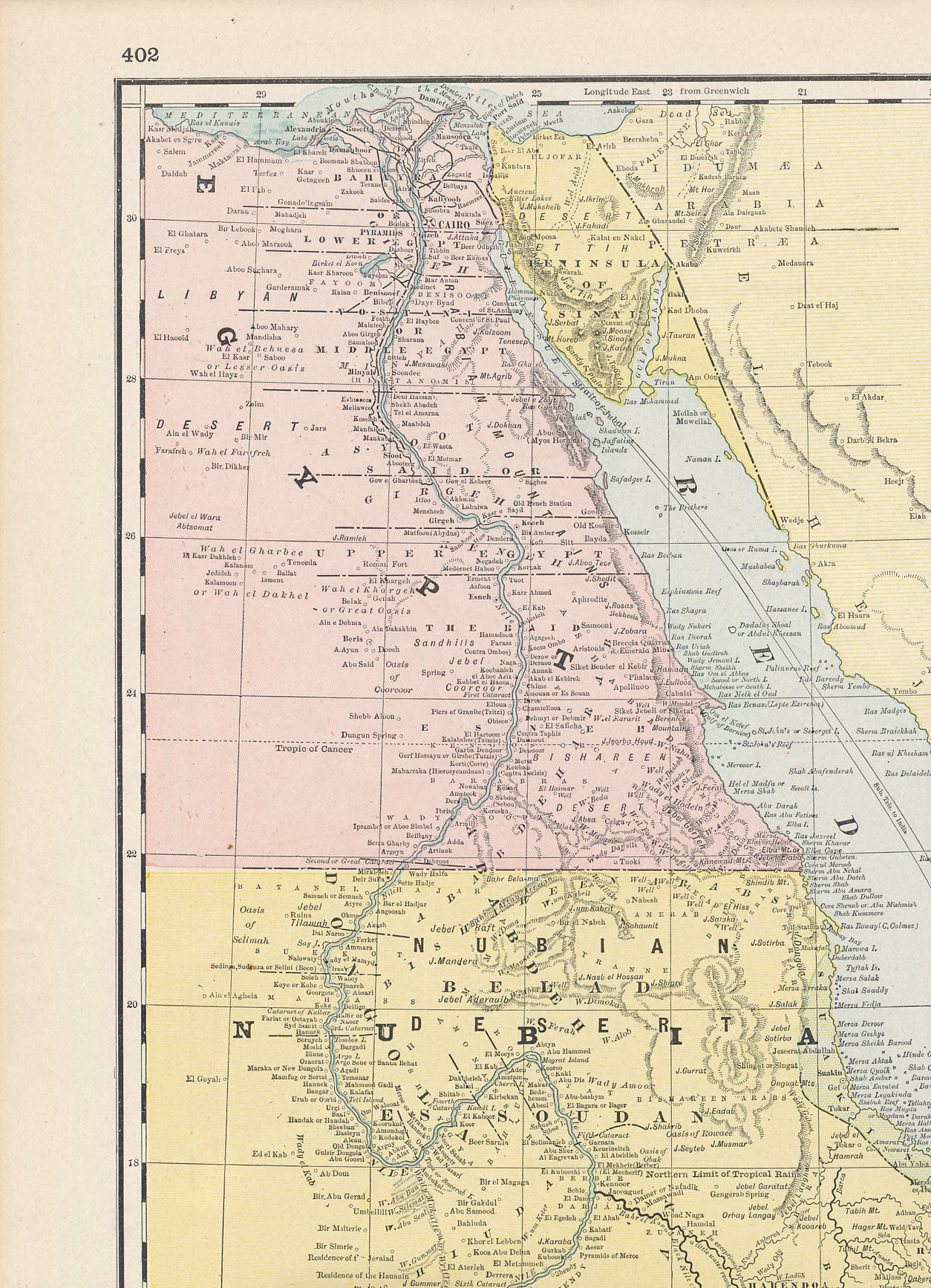 Egypt and Sinai from Cram's 1896 Railway Map of the Turkish Empire.