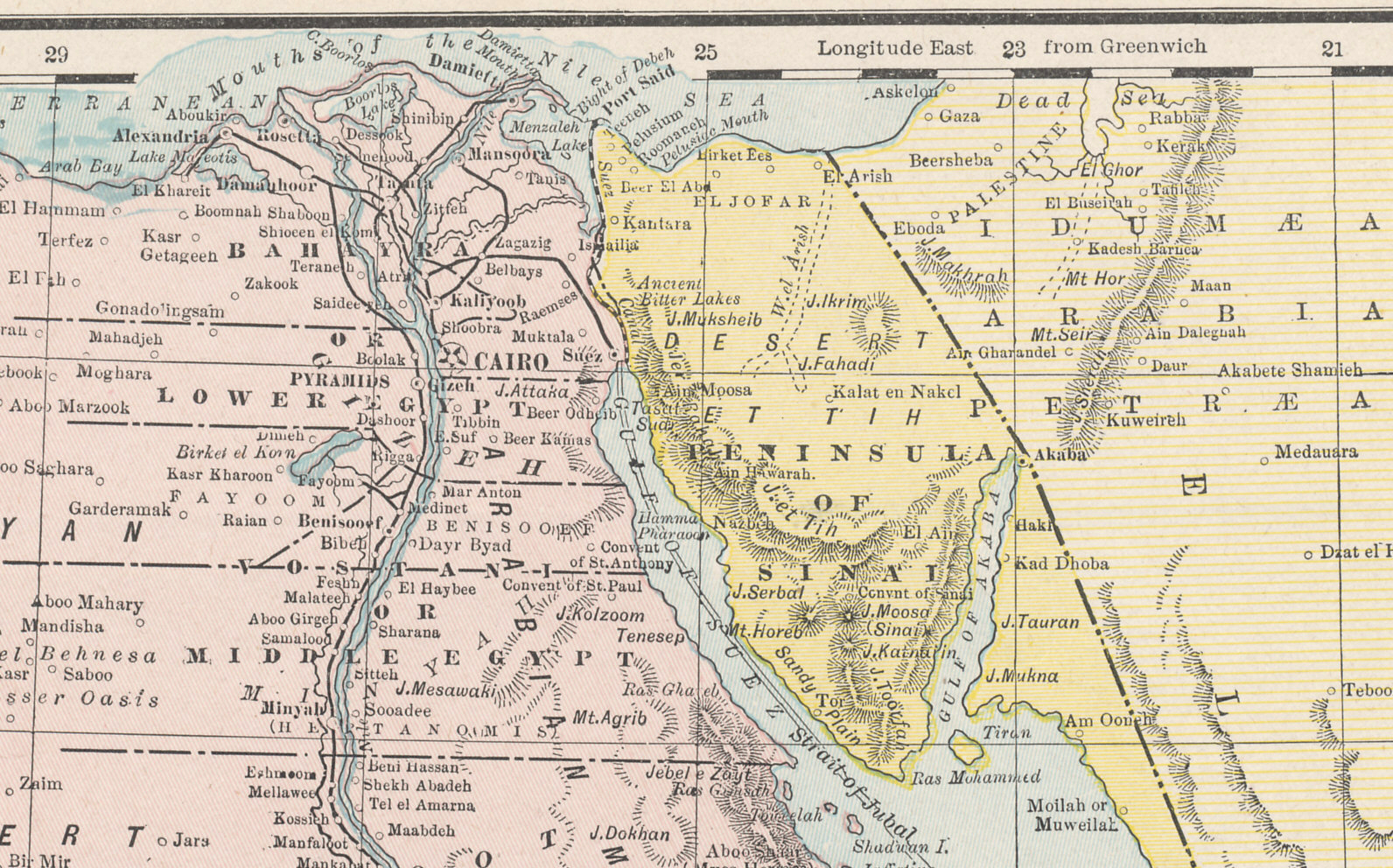 Northern Egypt, the Suez Canal, and Sinai from Cram's 1896 Railway Map of the Turkish Empire.