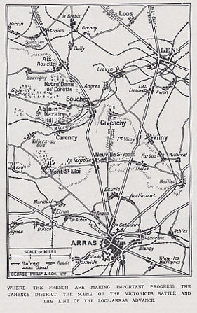 Map of the Artois region north of the city of Arras, France, from The Illustrated War News, Part 41, May 19, 1915. The French launched the Second Battle of Artois on May 9, 1915 to try to capture the heights of Notre Dame de Lorette and Vimy.