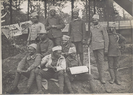 Photo of Senegalese soldiers in the Somme sector. One wears the Adrian helmet introduced in 1915.