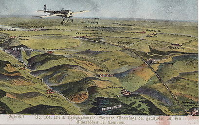 A German Fokker Eindecker flying over the front in the Meuse/Verdun sector.