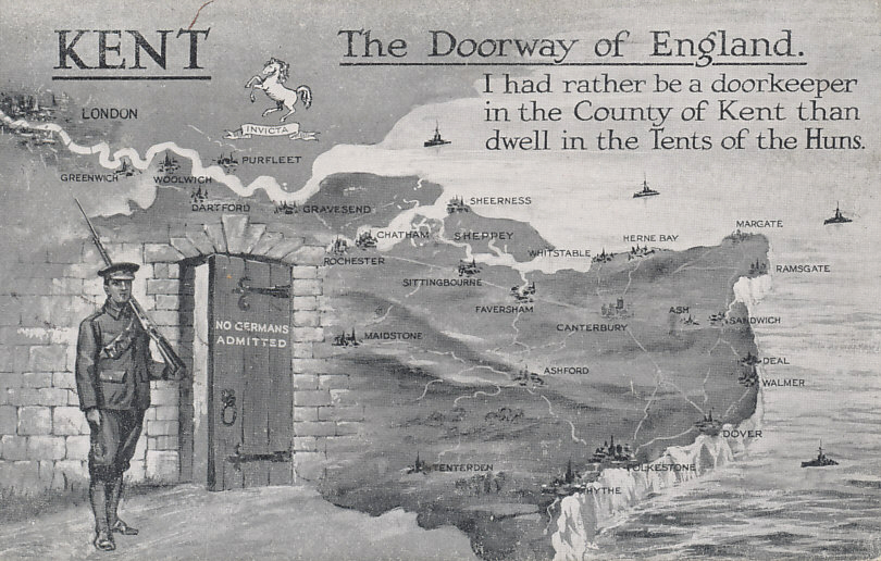 Postcard view of the county of Kent, England, bounded by the River Thames on the north, and the English Channel and Dover Strait to the east. The city and White Cliffs of Dover are in Kent. In November 1914, British naval and military authorities feared Germany was preparing to invade England.