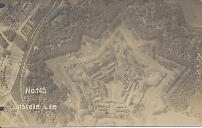 German aerial photograph of the Citadel of Lille, France, c. 1916, showing the star-shaped citadel designed by Vauban.