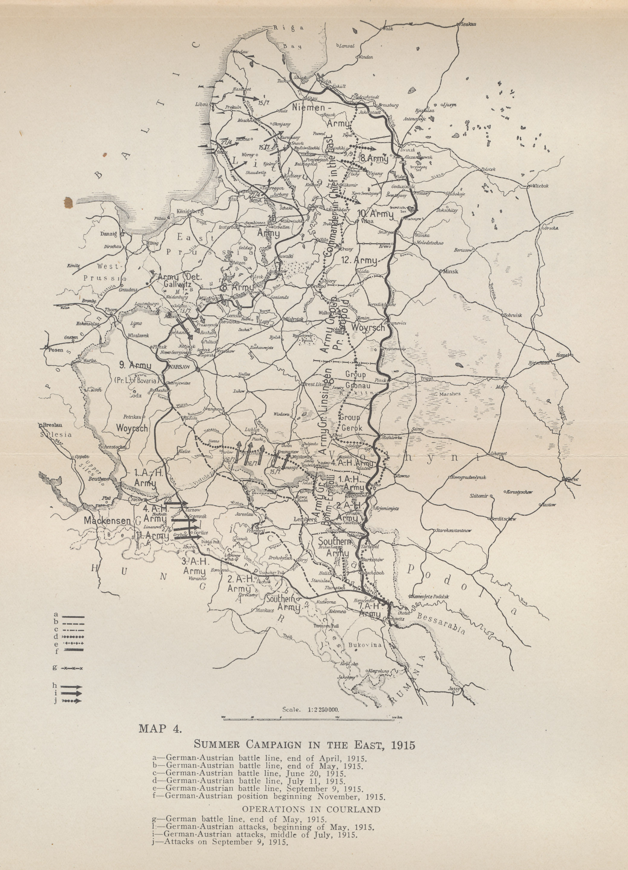 Map of the Eastern Front in the summer of 1915 as the German-Austro-Hungarian Gorlice-Tarnow Offensive continued to advance against the retreating Russians. From 'The German General Staff and its Decisions, 1914-1916' by General von Falkenhayn.