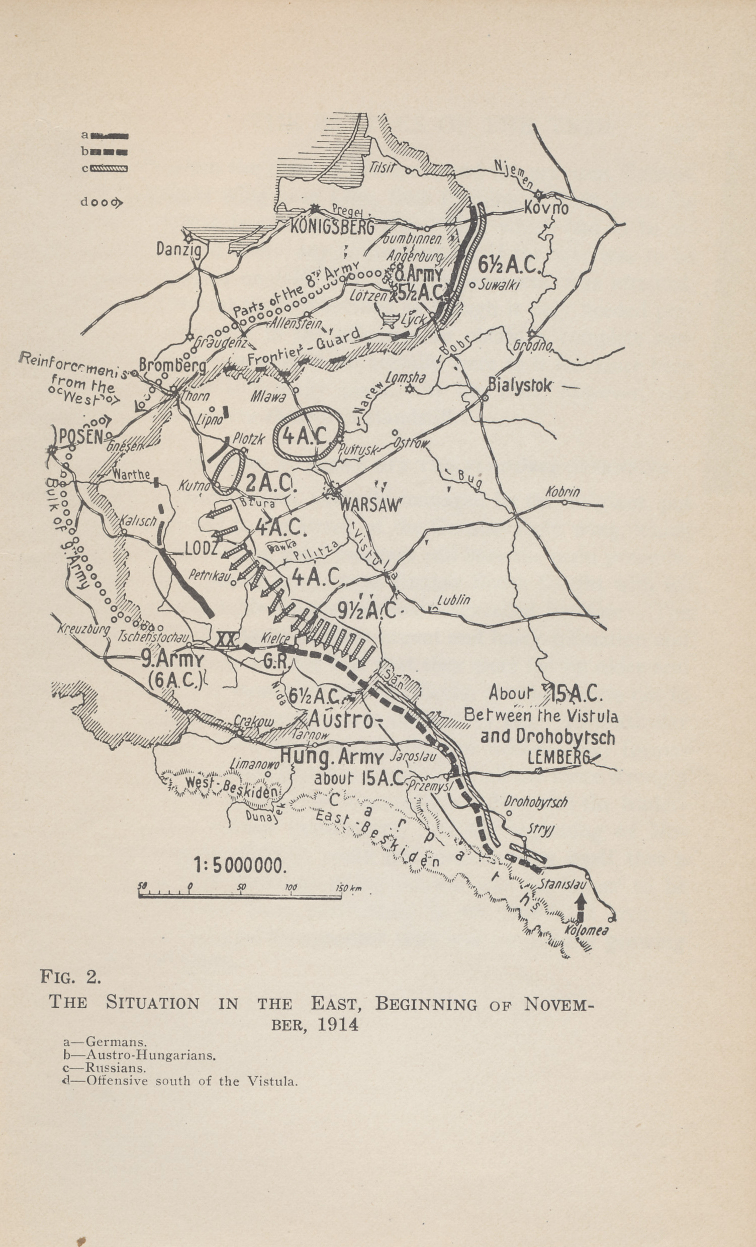Map of the military situation and troop movements on the eastern front at the beginning of November, 1914. A German-Austro-Hungarian advance almost to the gates of Warsaw in September and October, 1914, was reversed by the Russians. The November 12 German counter-attack included the new German Ninth Army and reinforcements that had been withdrawn from the Western Front. Map from The German General Staff and its Decisions, 1914-1916 by General von Falkenhayn.