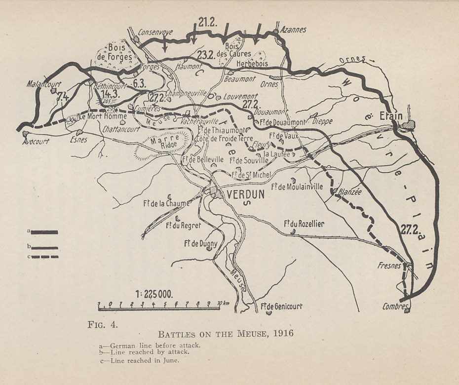 Map of the battlefield of Verdun, showing the line on February 21, 1916, when the initial bombardment began, the line reached in the first days of the offensive, and the line reached by June. From 'The German General Staff and its Decisions, 1914-1916' by General Erich von Falkenhayn, Chief of the German General Staff, who staked his position on the Battle for Verdun. He was replaced in August, 1916.