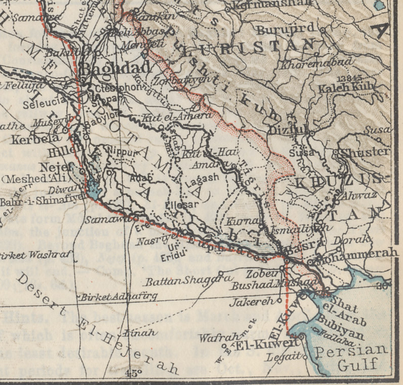 Detail from a map of southern Turkey, Syria, Palestine, and Mesopotamia from the Baedeker 1912 travel guide 'Palestine and Syria with Routes through Mesopotamia and Babylonia and with the Island of Cyprus'. The detail is of Mesopotamia from Baghdad to Basra and the Persian Gulf and the Tigris and Euphrates Rivers.
